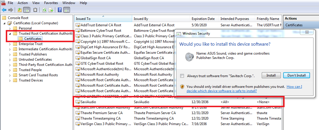 Savitech Drivers Silently Install Certificate In Trusted Root